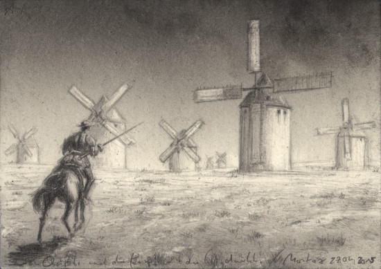 Don Quijote rides against the windmills