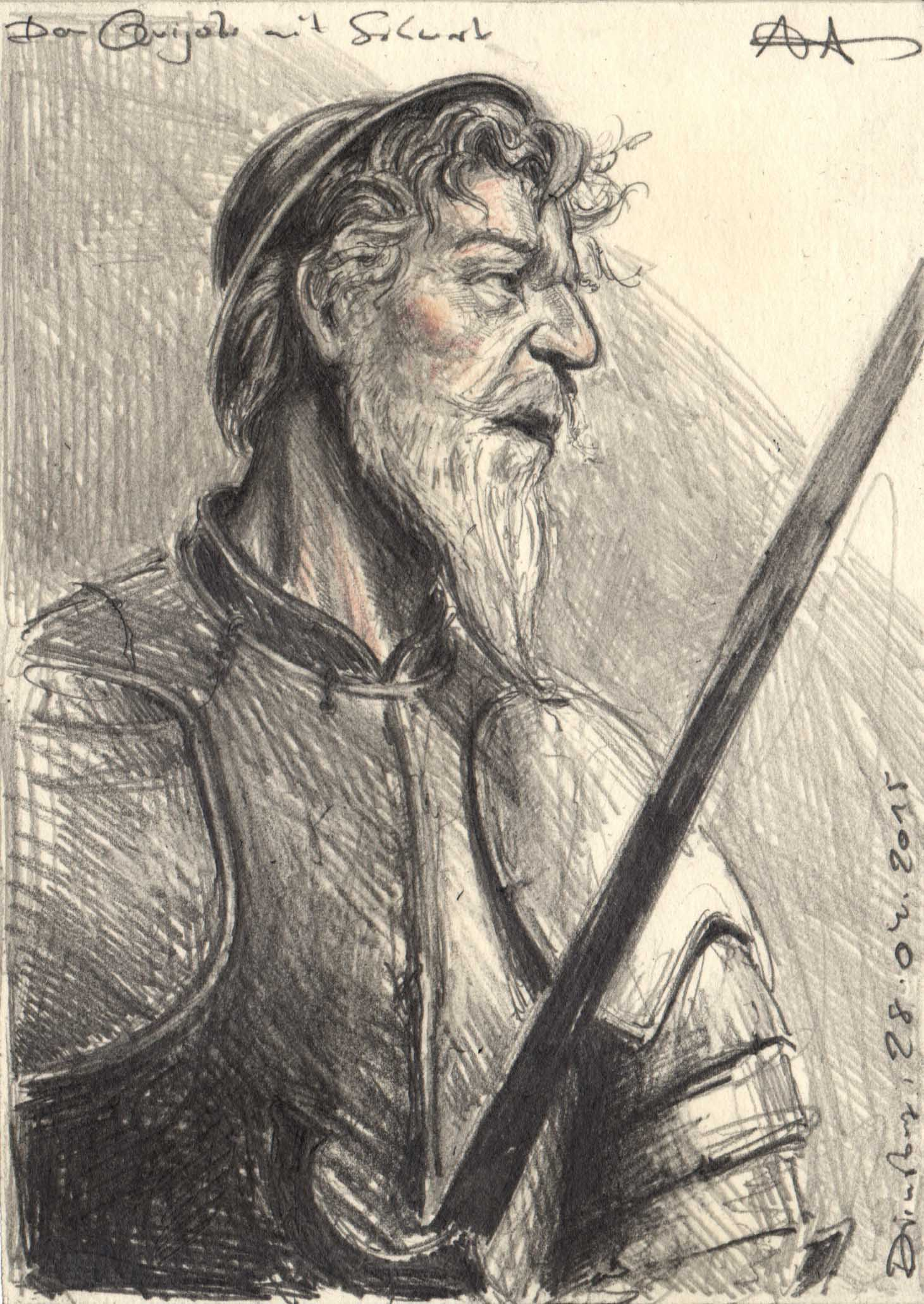 Don Quijote with his drawn sword