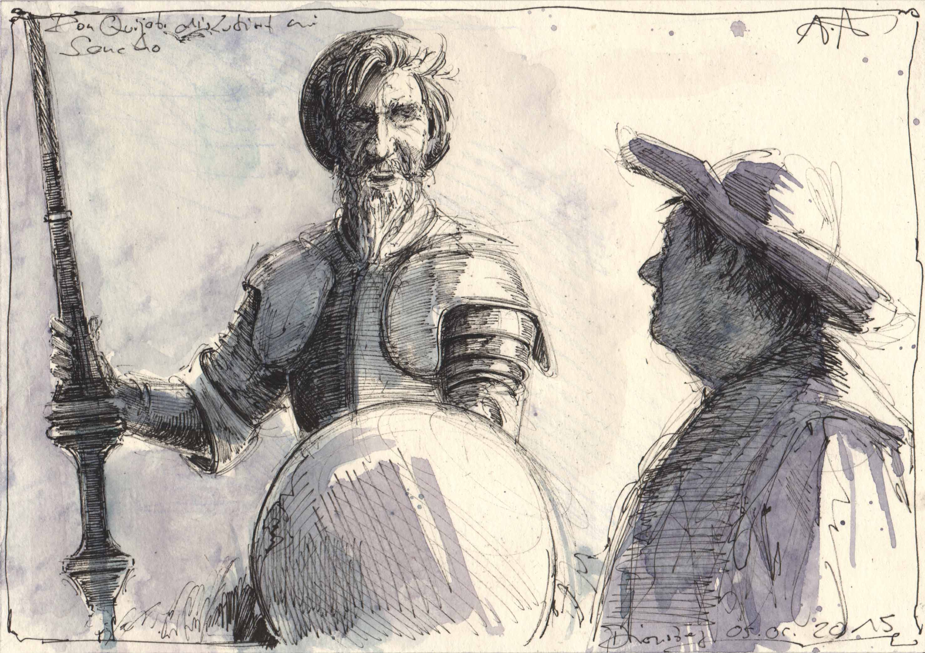 Don Quijote discussing with Sancho