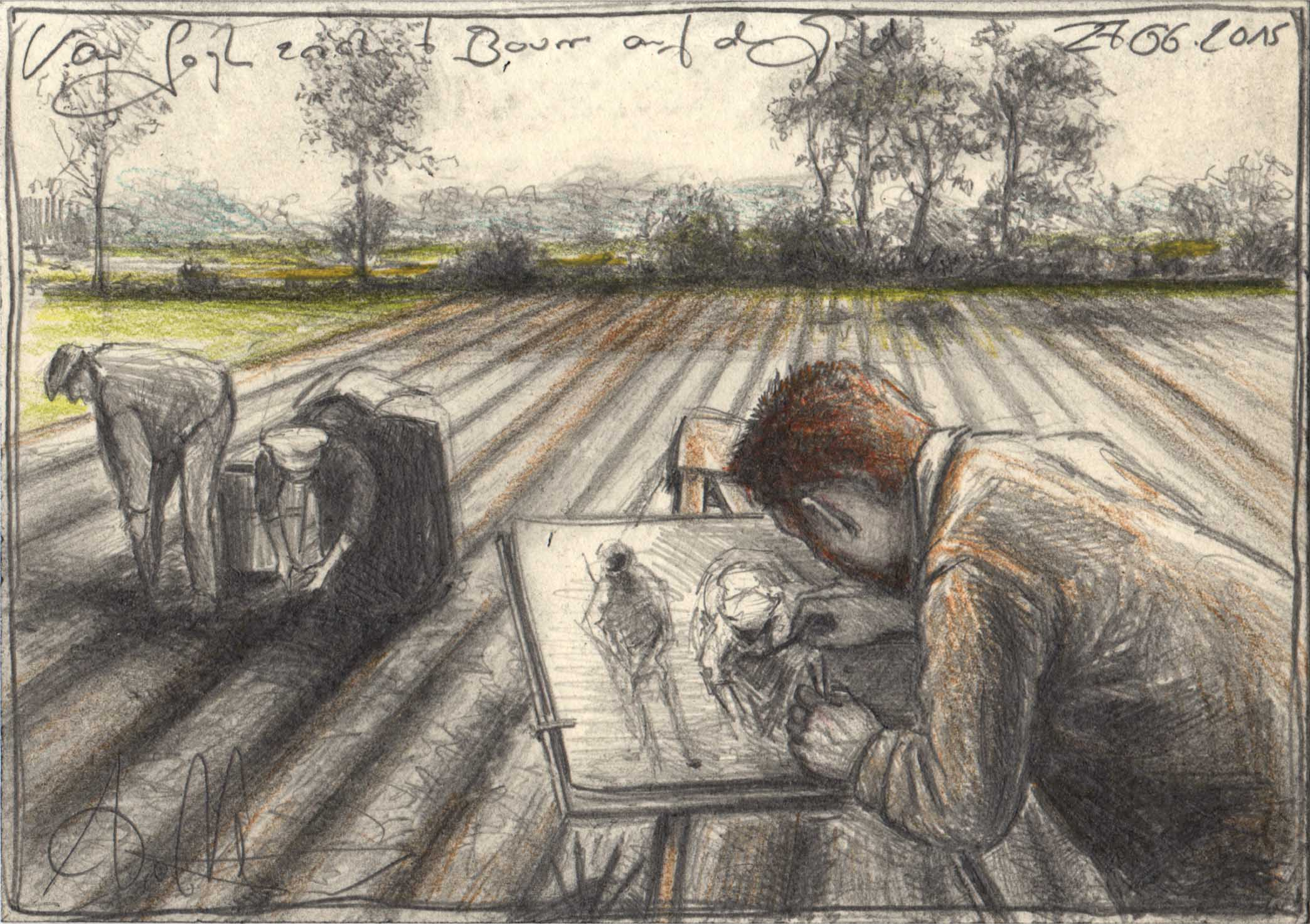 van Gogh draws farmes on the field