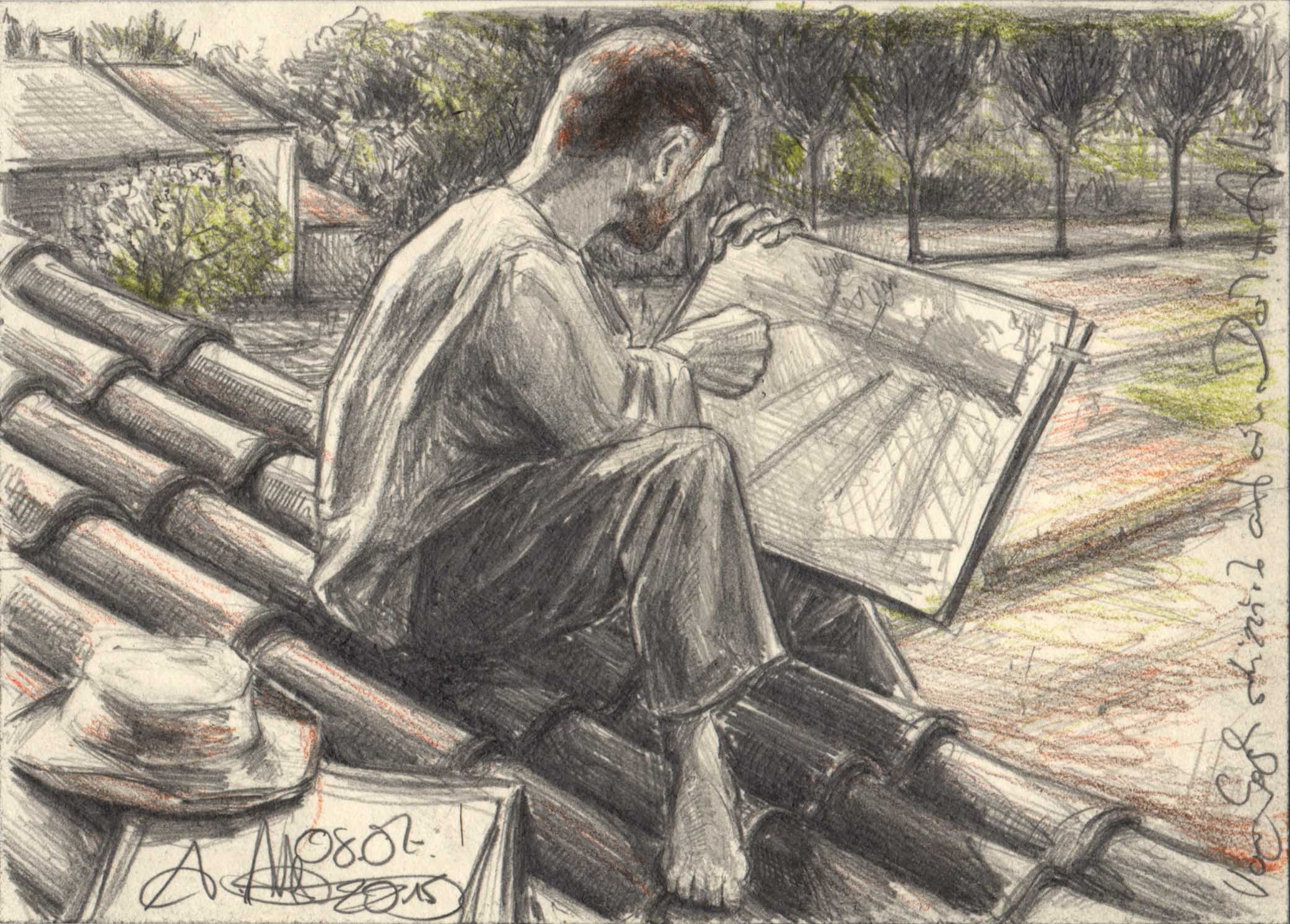 Van Gogh sketching on a roof in Arles