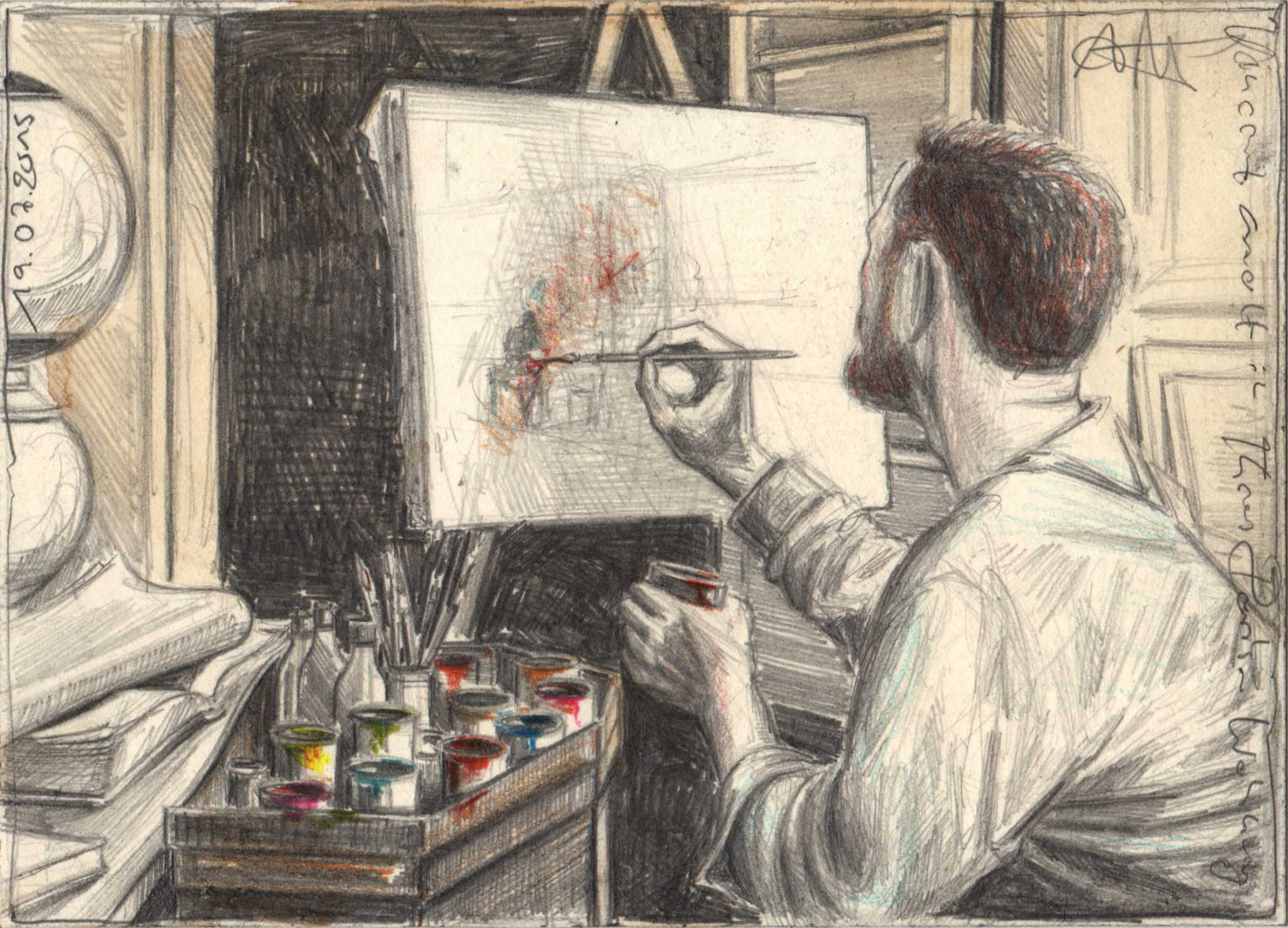 Vincent paints in Theo's apartment in Paris