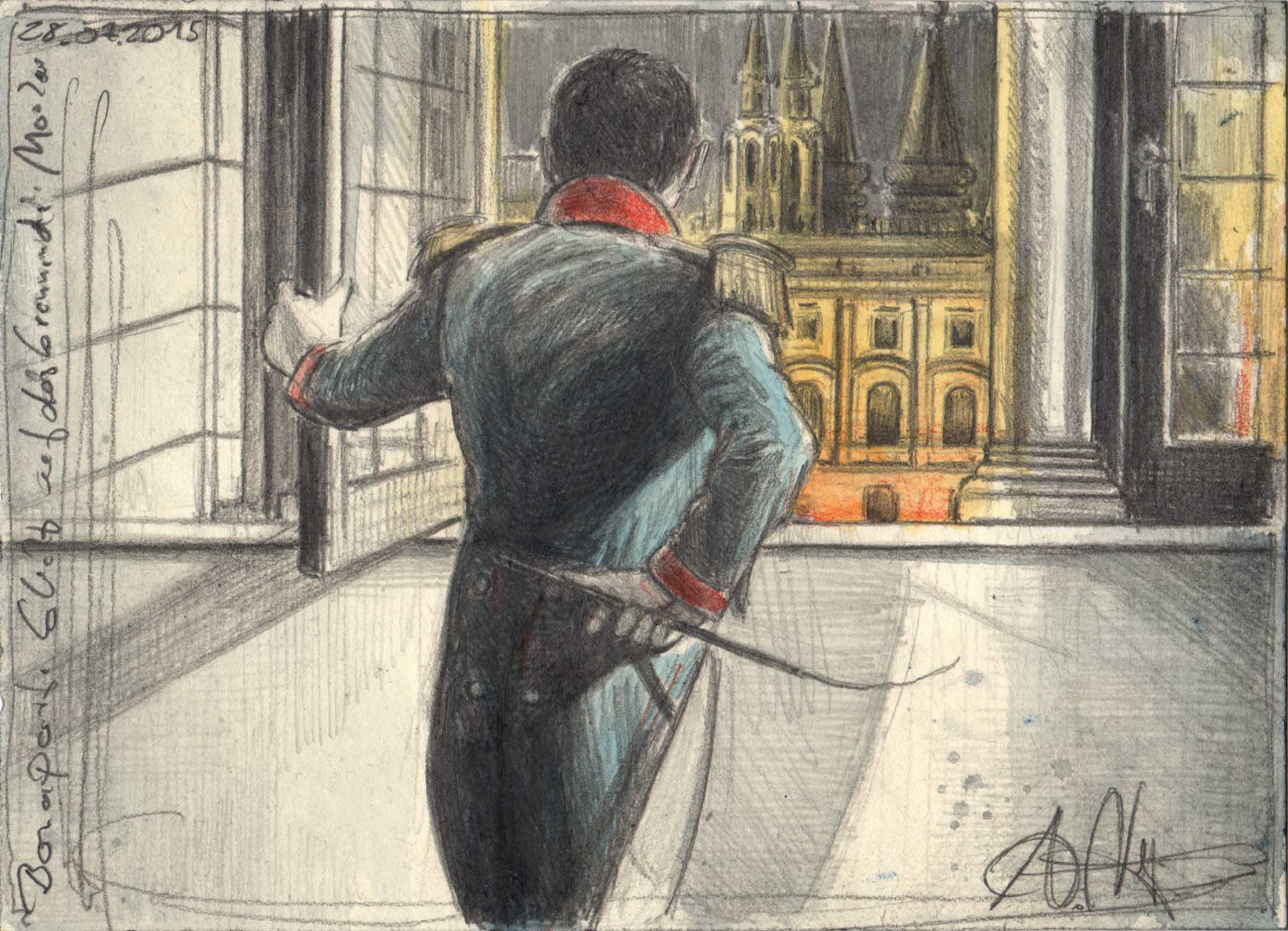 Bonaparte looks at the burning Moscow