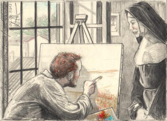 Van Gogh paints in his room of Saint Rémy