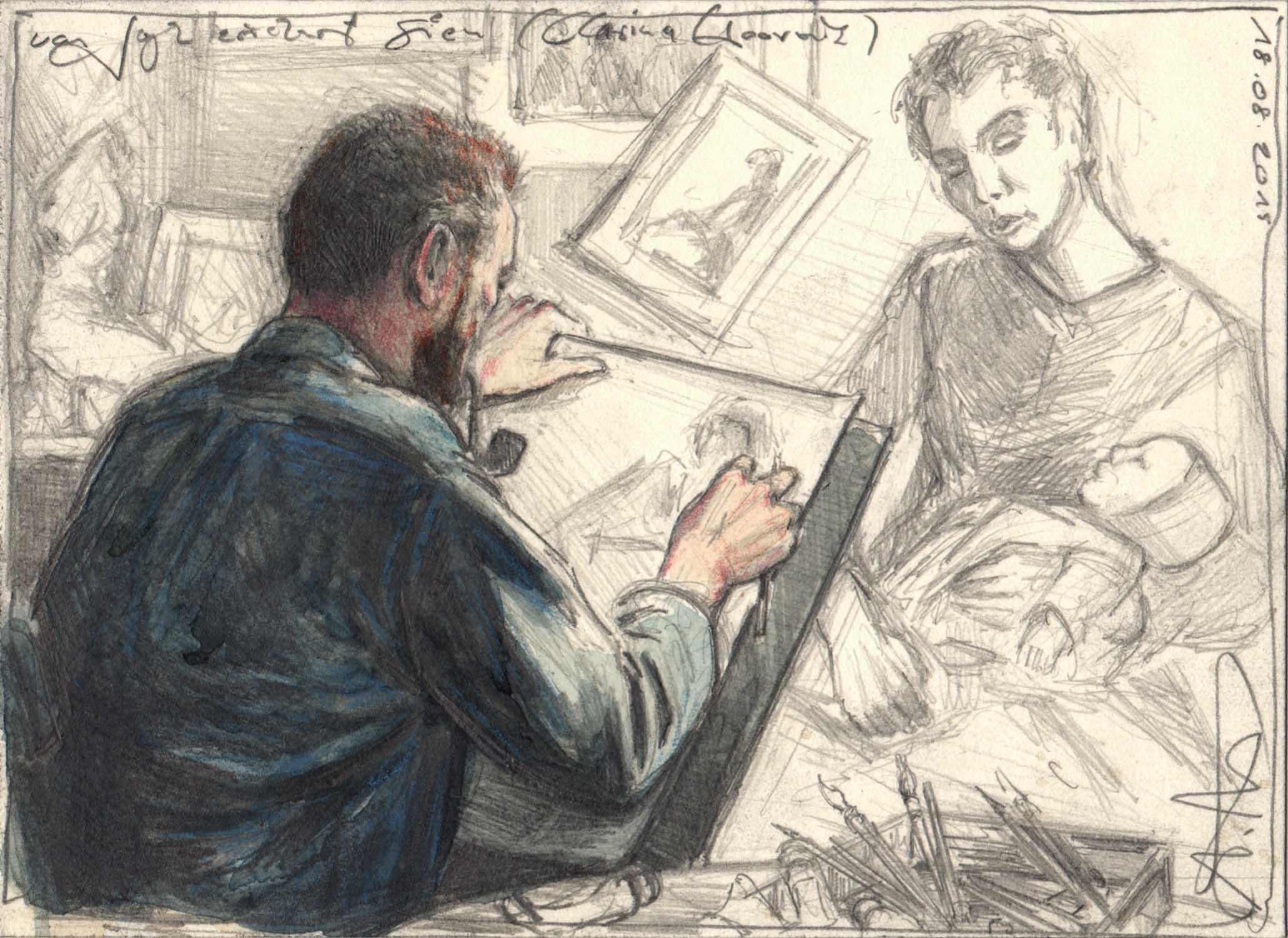 Van Gogh sketches Sien (Clasina Hoornik)