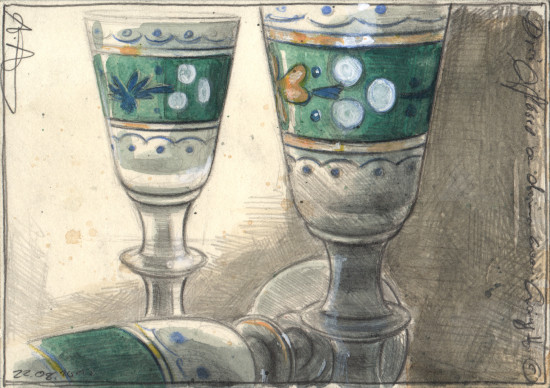 Three glasses on which to hang