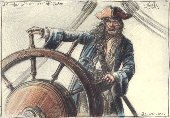 The Captain at the helm