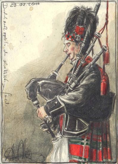 Bagpiper of the scottish Guard