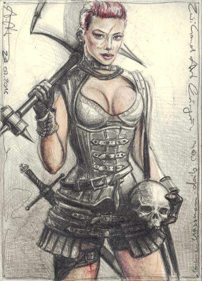 Two-handed ax female warrior