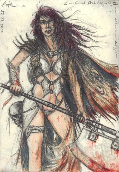 Two-handed ax female warrior II.
