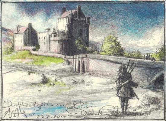 Bagpiper in front of Eilean Donan Castle
