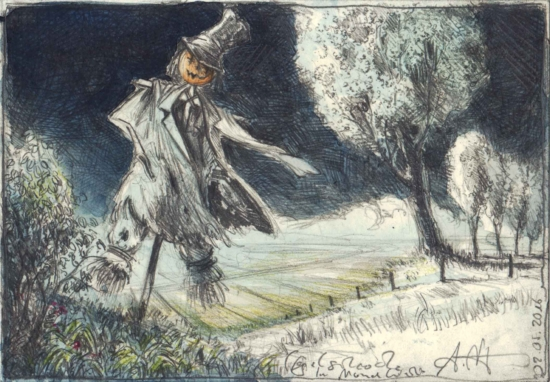 Scarecrow in the moonlight