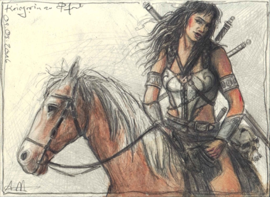 Female Warrior on horse