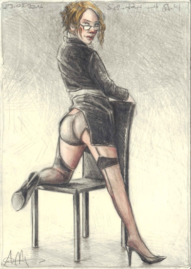 Miss Secretary with Chair