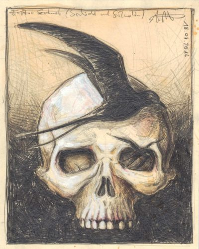 Tattoo design (Skull with swallows)