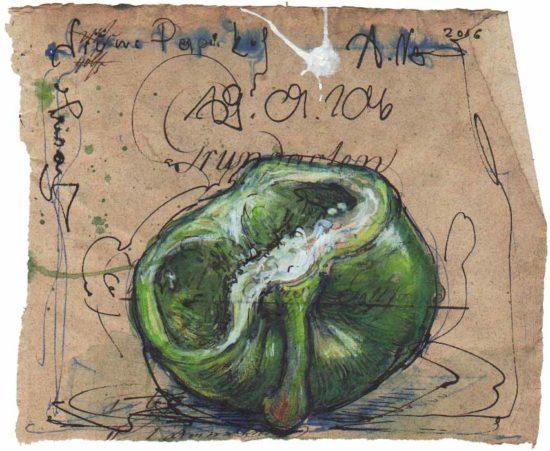 Sad green bell pepper