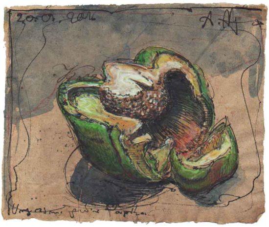 Forgotten green bell pepper