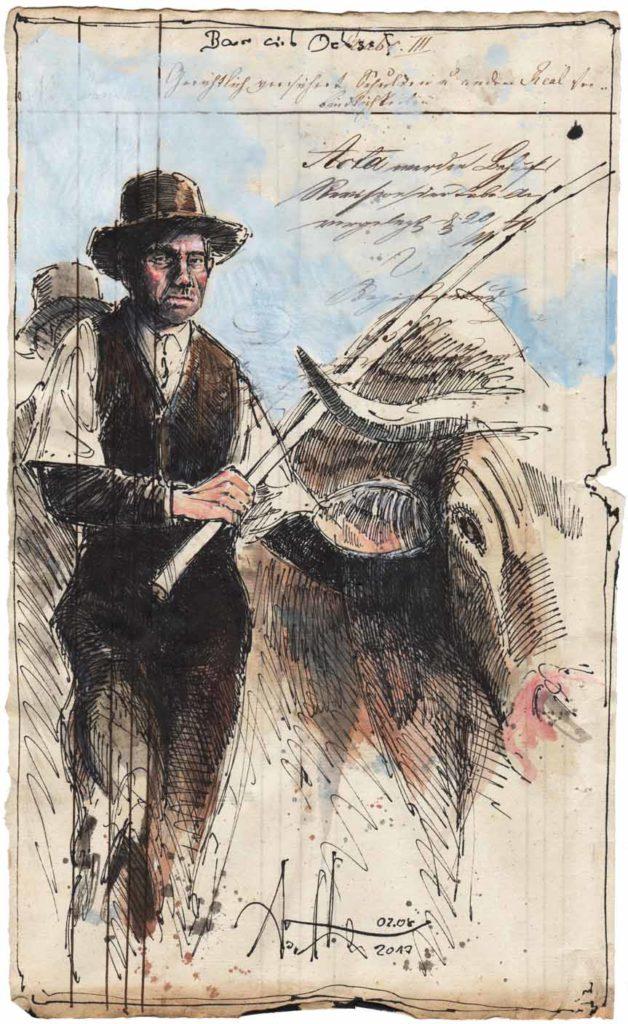 Farmer with ox