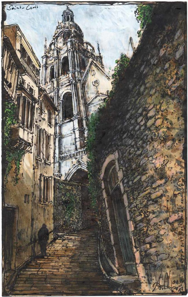 Steps up to the cathedral of Blois (Saint-Louis)