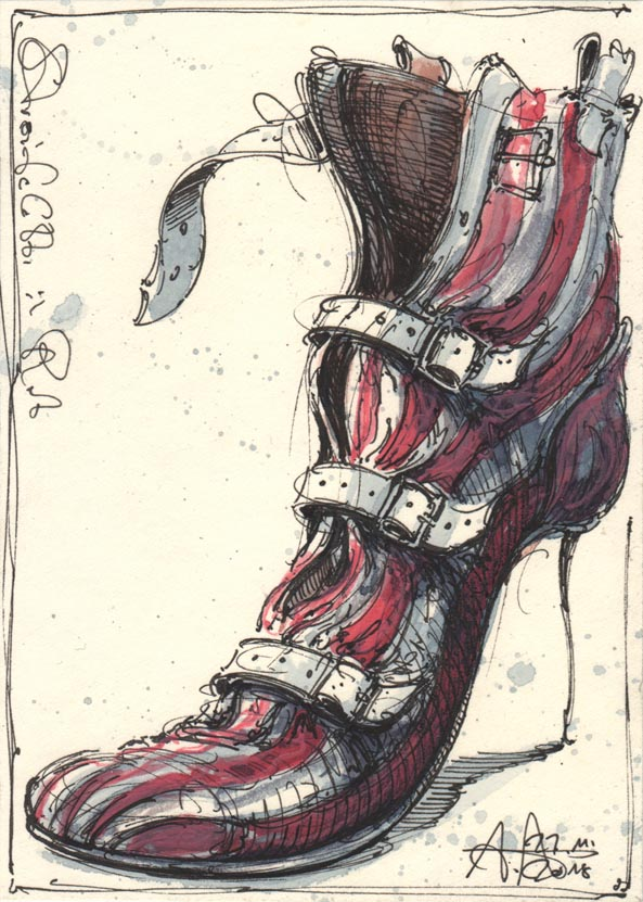 Strips in red shoe