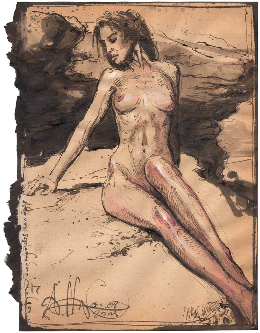 Nude in front of a sepia colored rock