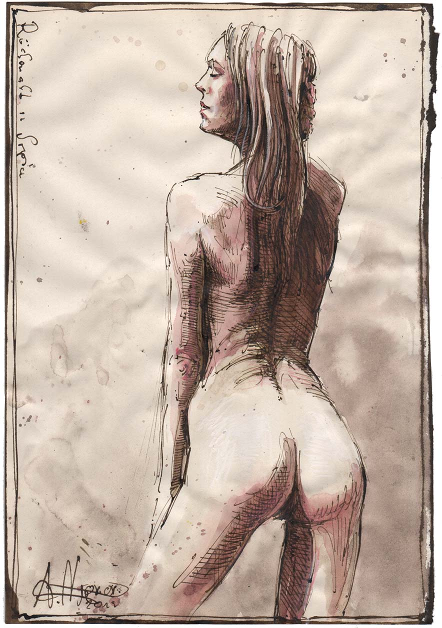 Backview nude in Sepia