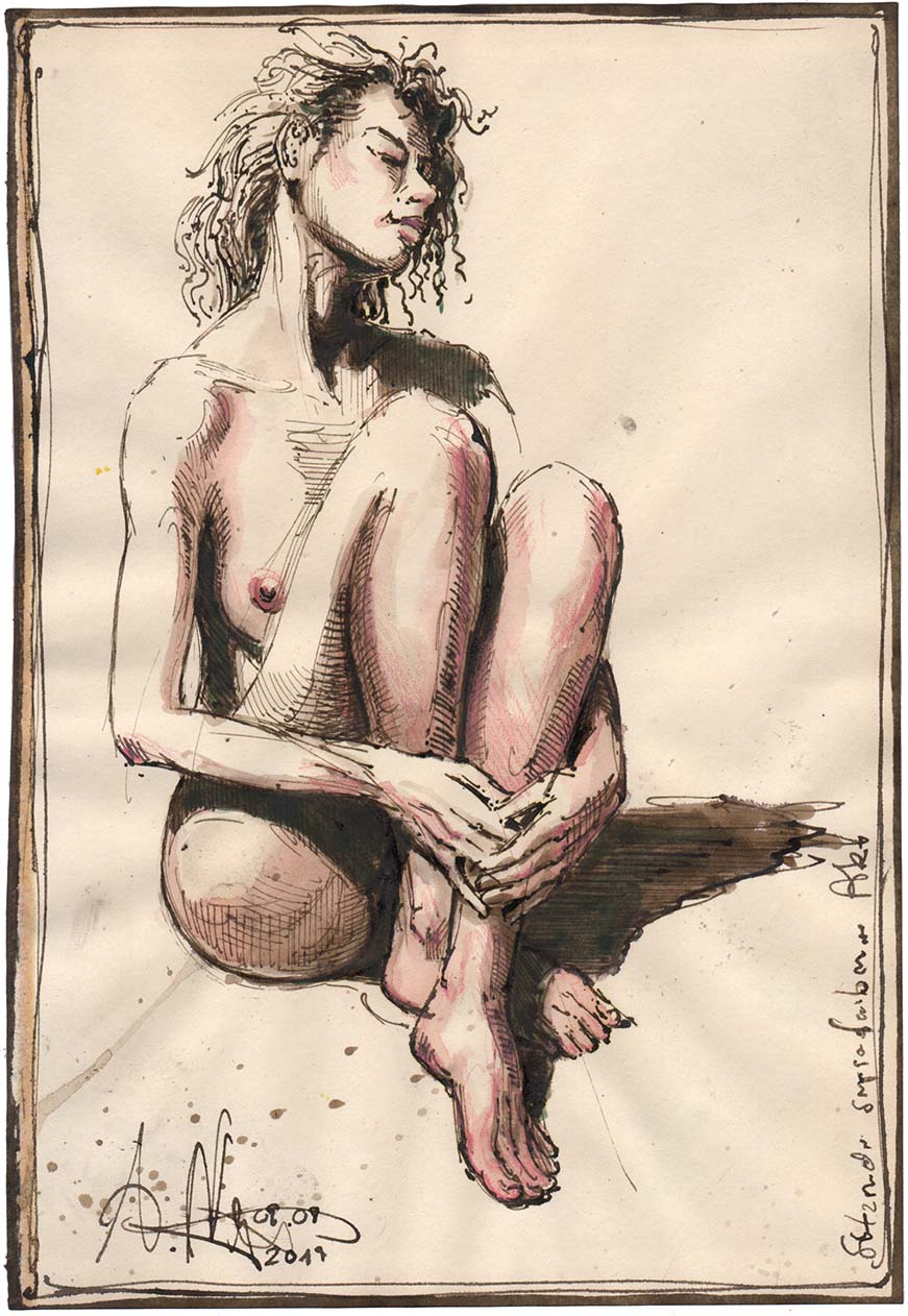 Sitting sepia colored nude
