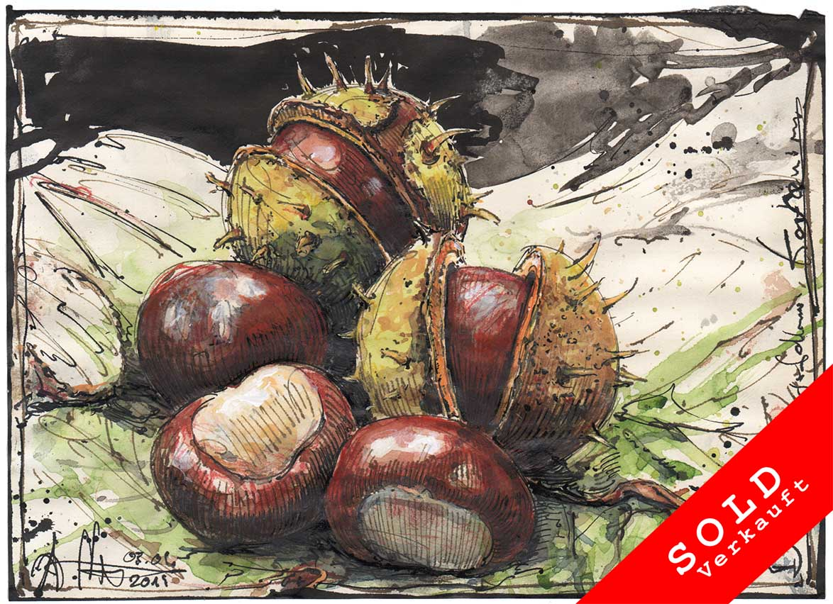 The chestnuts fallen from the horse