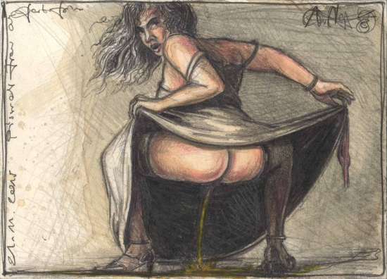 peeing-woman-on-garden-party